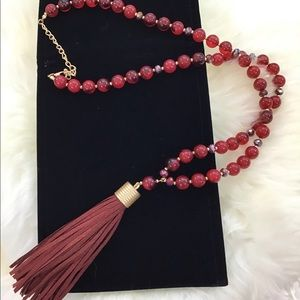 Long Red Beaded Necklace with Leather Tassel